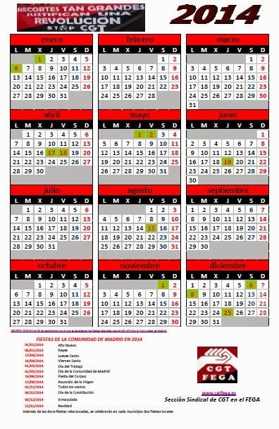 Cgtfega calendario laboral de madrid 2014 for Calendario eventos madrid
