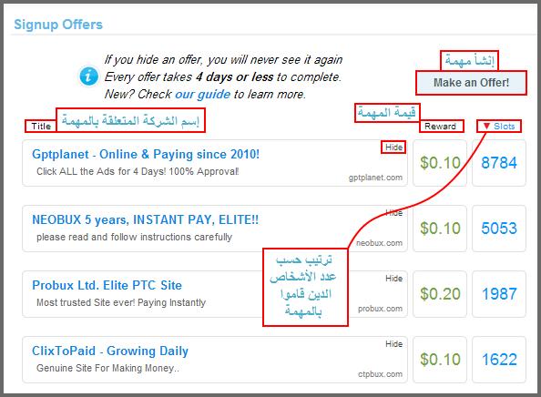 الربح مقابل إنجاز المهمات clicksia