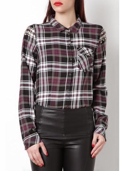 Only- camisa de cuadros con tachuelas