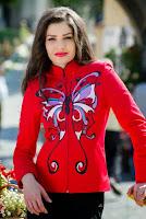 Jacheta rosie din doc de bumbac ANYA (Ama Fashion)