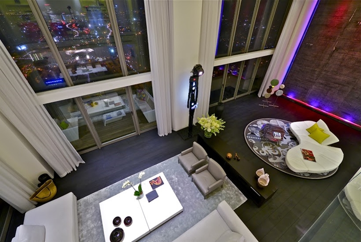 Penthouse living room at night