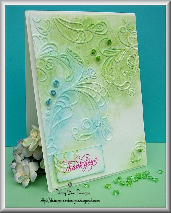 Swirls, green, blue,embossing, stitching