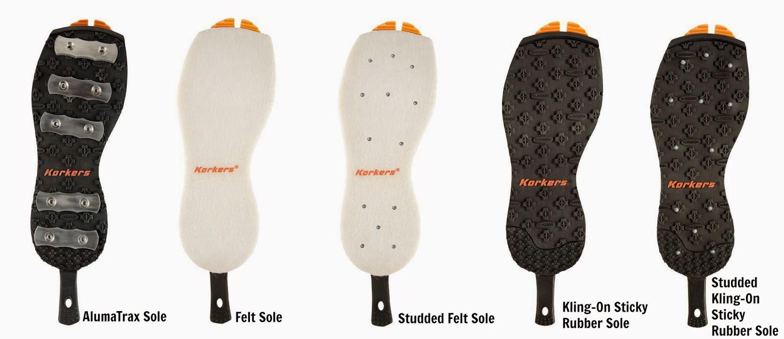 Korkers soles  options