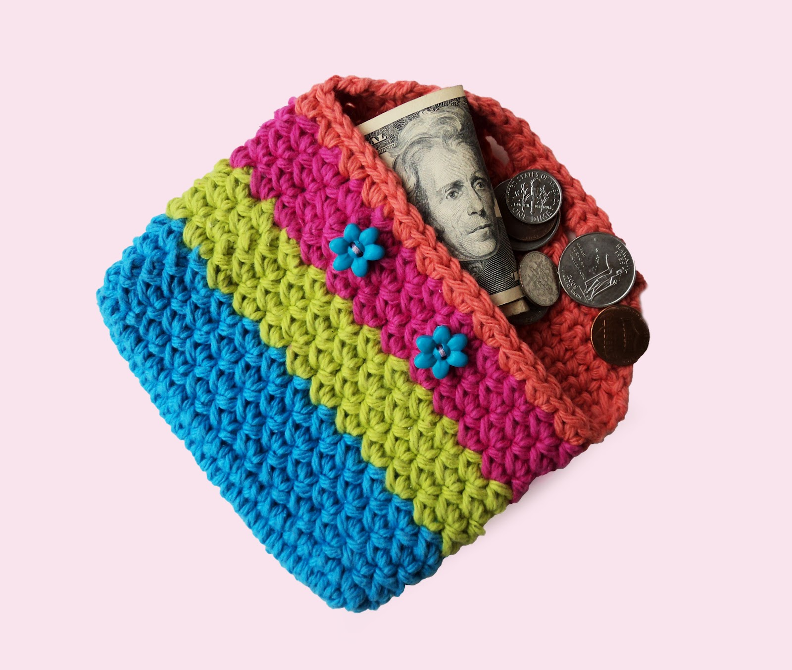 Simple Crochet Coin Purse : The finished coin purse you can crochet using this pattern measures 5 ...