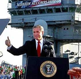 George W. Bush saying Mission Accomplished
