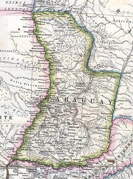 Mapa antiguo de PARAGUAY año 1875