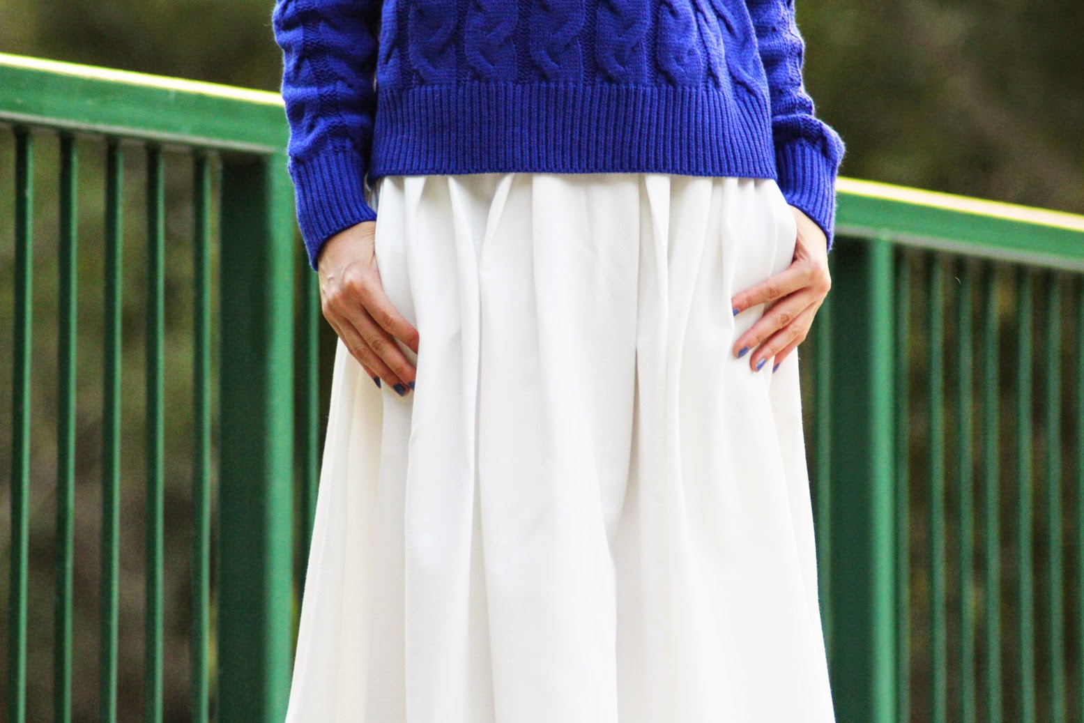 Styling flared white midi skirt from Runway Bandits