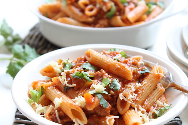 my bare cupboard: Penne with bolognese sauce