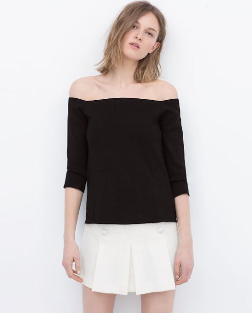 Top preto sem ombros da Zara - 15,99€