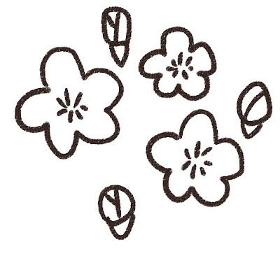 桃の花のイラスト(花) モノクロ線画