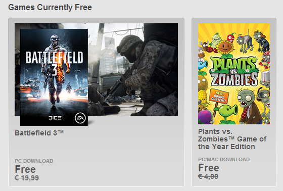 Battlefield 3 and Plants vs. Zombies free pc game from EA
