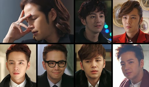 Some of the hairstyles Jang Geun Suk wore as Dok Go Ma Te.
