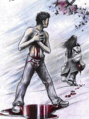 انكسار وجرح القلب من الحب....يسبب الام عضوية وجسدية - قلب مجروح مكسور حزين - broken bleeding heart