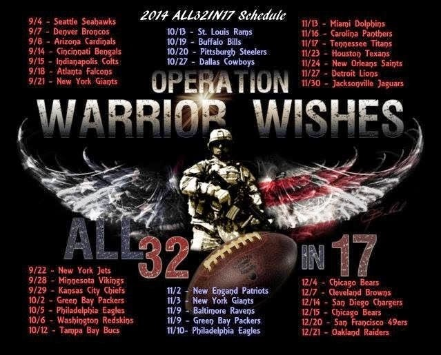 Warrior Wishes 2014 NFL Schedule