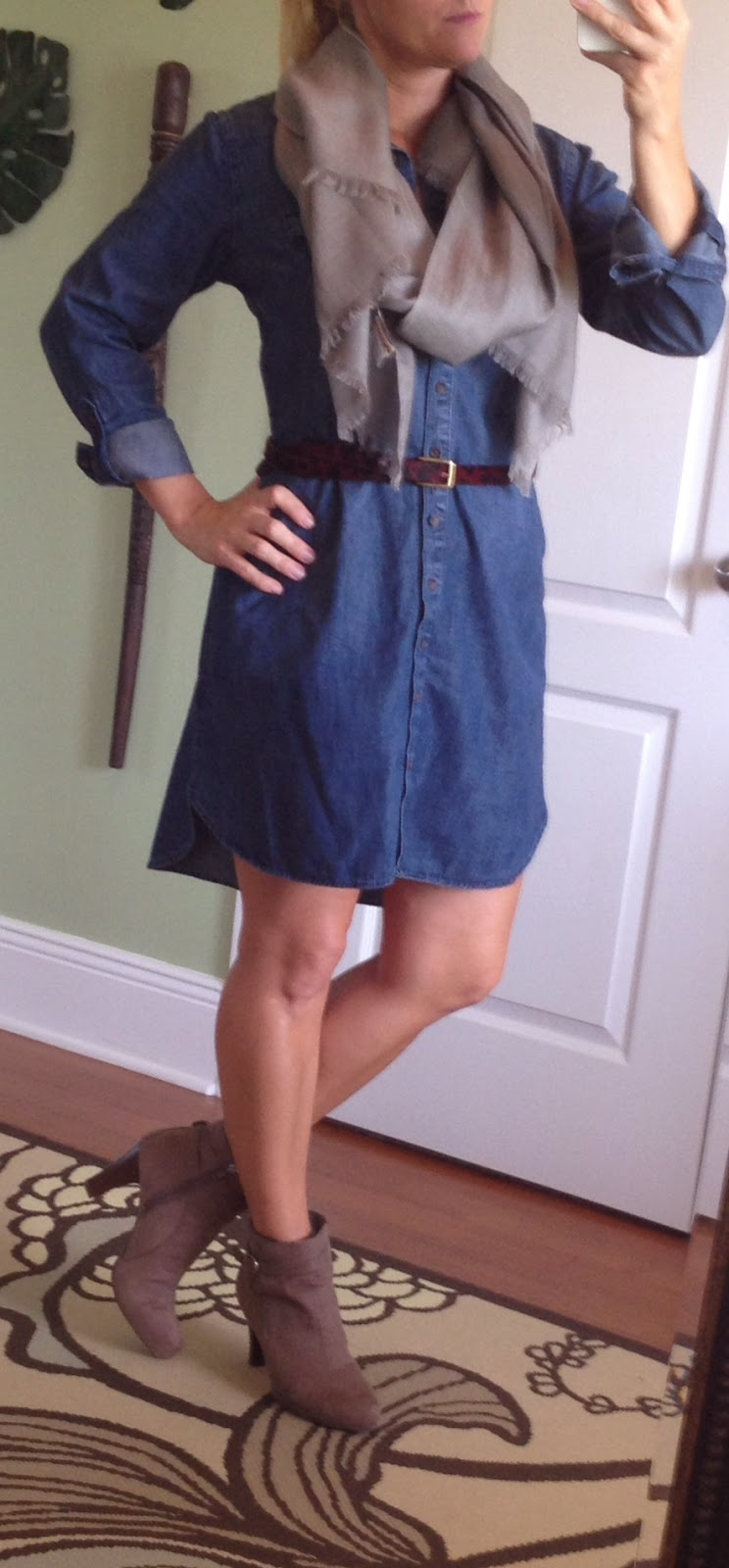HOW TO WEAR A DENIM SHIRT DRESS FOR FALL