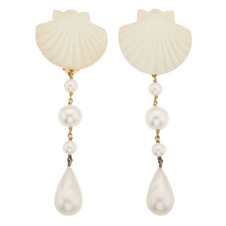 Vintage 1990's white seashell motif dangling Chanel earrings with pearls.
