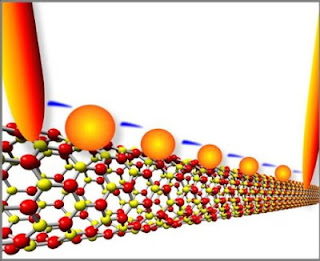 Electrons flash across a series of gold quantum dots on boron nitride nanotubes. Michigan Tech scientists made the quantum-tunneling device, which acts like a transistor at room temperature, without using semiconducting materials.