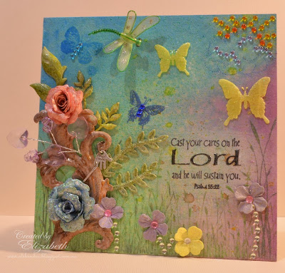 Elizabeth Whisson, mixed media, Cast your cares on the Lord, Psalm 55:22, texture paste, gesso, Annabelle Stamps sprinkles, Spellbinders Shapeabilities Bitty Blossoms, Prima Marketing leaves