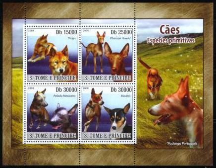 2008年サントメ・プリンシペ民主共和国 ディンゴ ファラオ・ハウンド ショロイツクインツレ(メキシカン・ヘアレス・ドッグ) バセンジーなど原始犬の切手シート