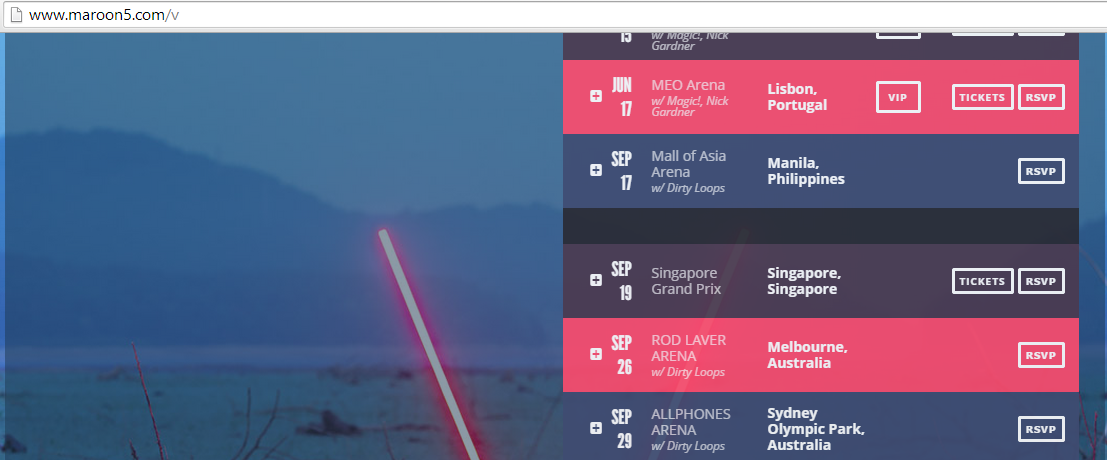 Maroon 5 Philippine Concert schedule