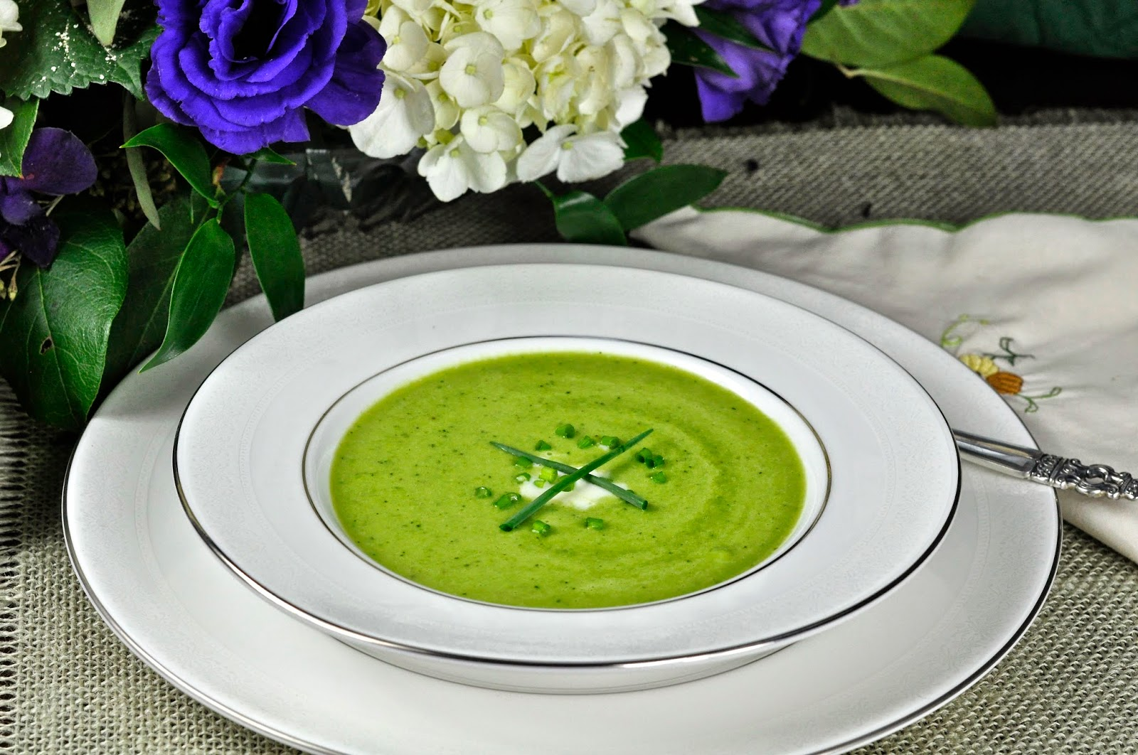 Spring Pea Soup With Chive Oil And Creme Fraiche Recipe ...