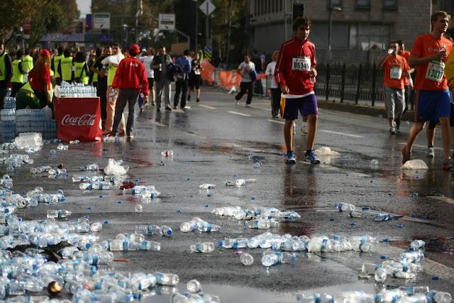 The Istanbul Eurasia Marathon 2012, thrown water bottles.