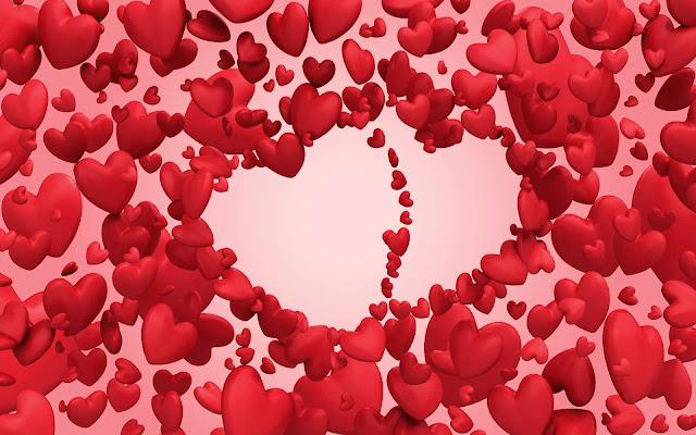 Wallpaper met rode hartjes in 3D