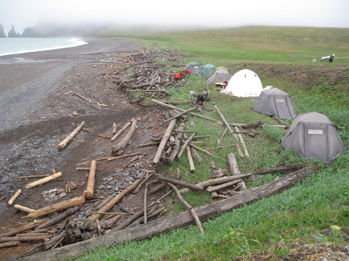 Four Bomb Shelters tents with poles as thick as a broom handle and a white dome for cr&ed group encounters. & alaskatracks: St. Matthew