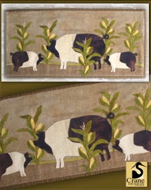 "Pig Heaven Wool Applique Runner 13"" by 27"""