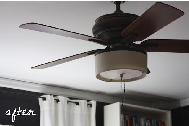 DIY ceiling fan redo using a cut down drum lamp shade