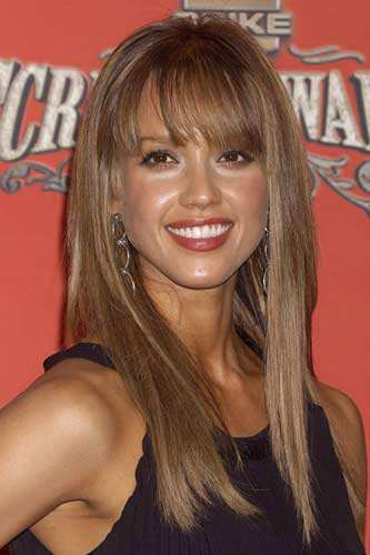 Jessica Alba Shoulder Length Bob Hairstyle with Bangs Hairstyle with Fringe