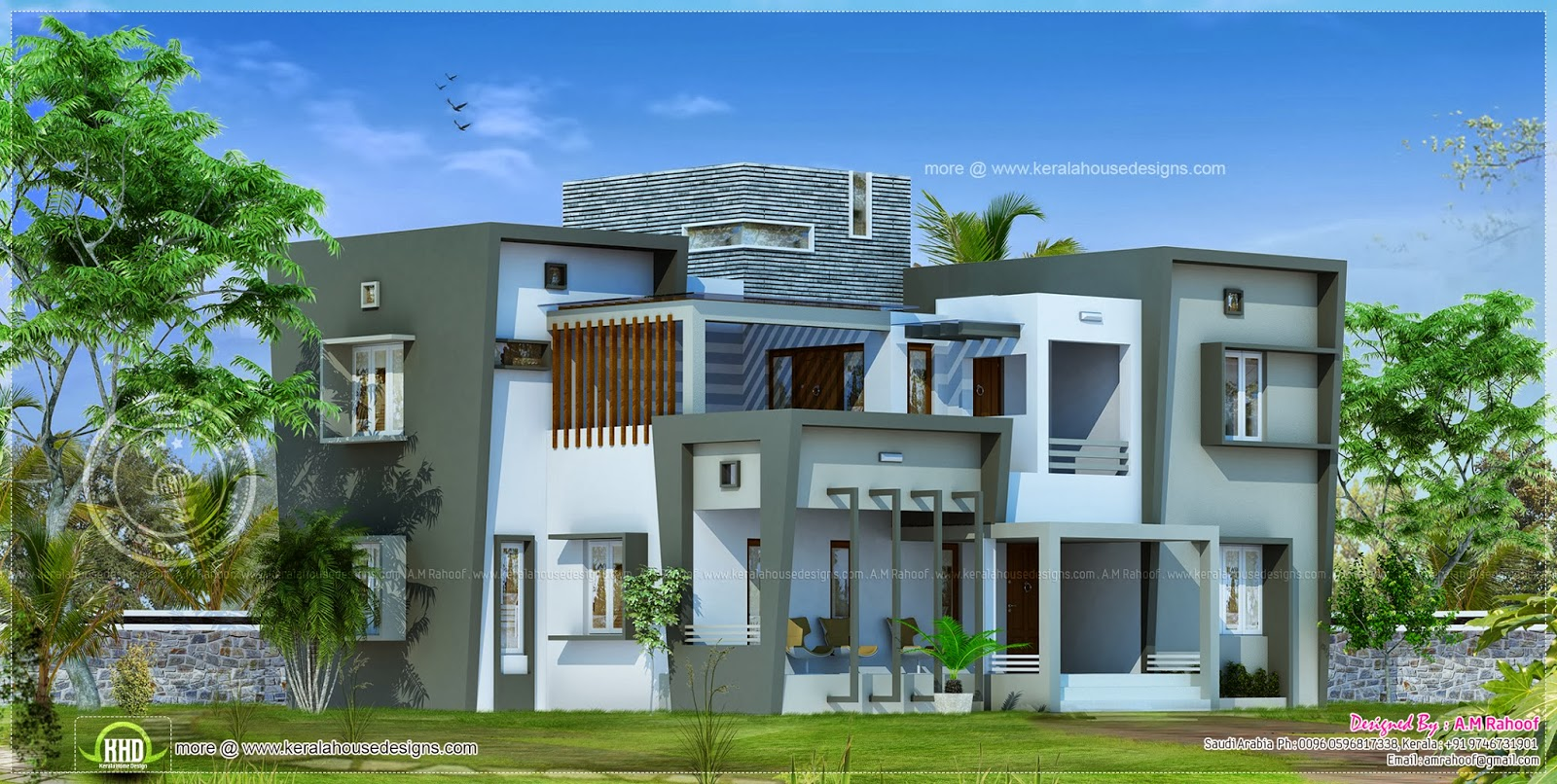 Modern house design in 2850 square feet home kerala plans for Modern villa house design