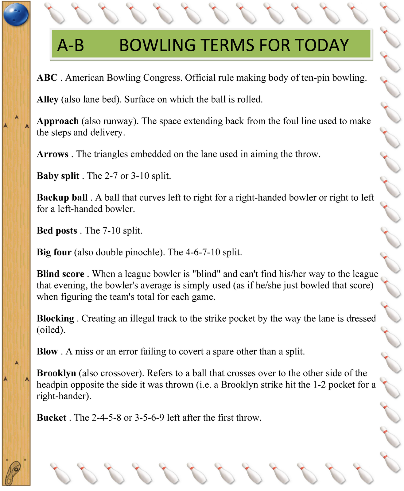 Terms: LOVE 2 BOWL: BOWLING TERMS FOR TODAY