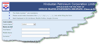 HPCL Recruitment 2012 Online Form