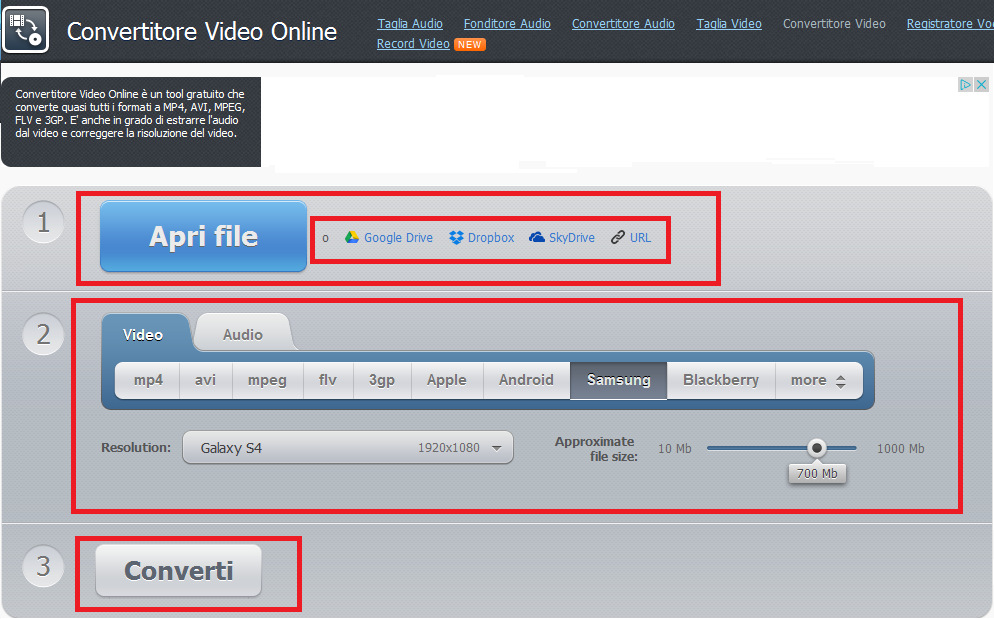 convertire Video o Audio Online