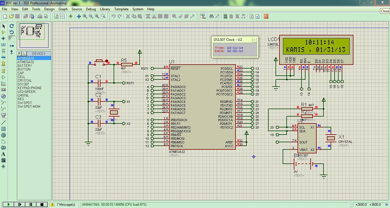 Salah satu aplikasi dari DS1307 ialah sebagai jam digital dengan ...