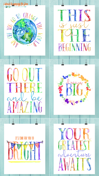 The most GORGEOUS watercolor graduation printables...bundled into a pack of six in my shop: