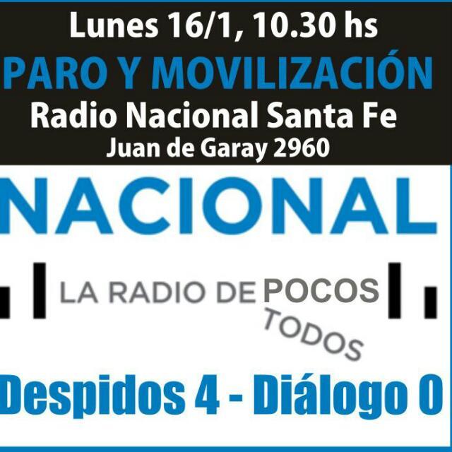 NO A LOS DESPIDOS EN RADIO NACIONAL SANTA FE