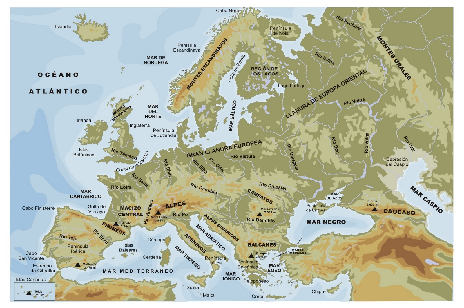 Los Limites Naturales Del Continente Europeo
