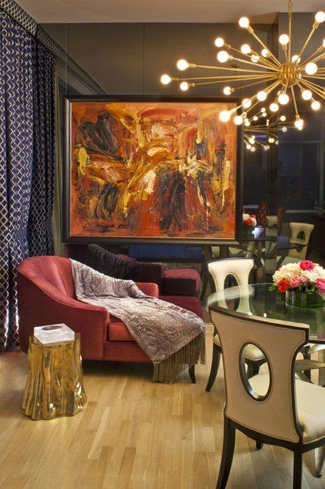 Another Great Jonathan Adler Room Featuring A Sputnik Chandelier Notice How The 3D Wall And Top Of Round Table Echo Orbit Effect