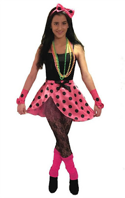 80s Costume for Ladies - Polka Dot Skirt, matching hair bow, armlets and neon leg warmers.