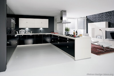 modern kitchen design with black cabinets