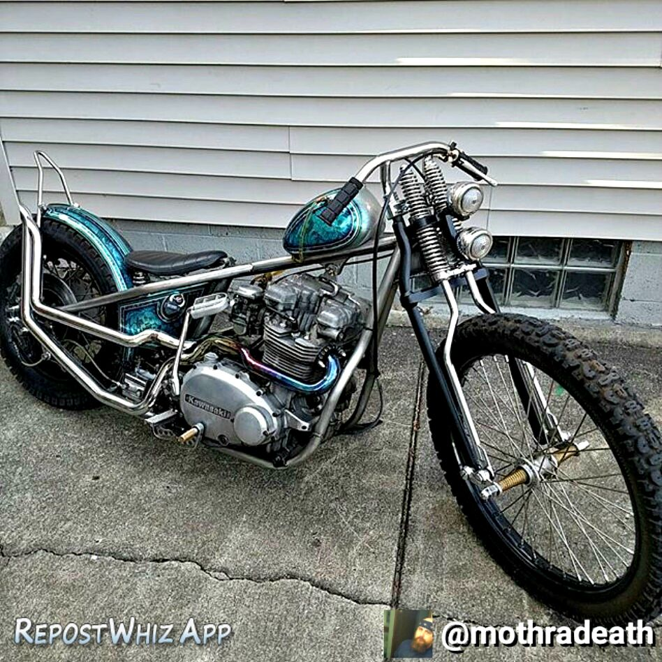 custom kawasaki kz750 bobber with custom paint by blue moon kustoms