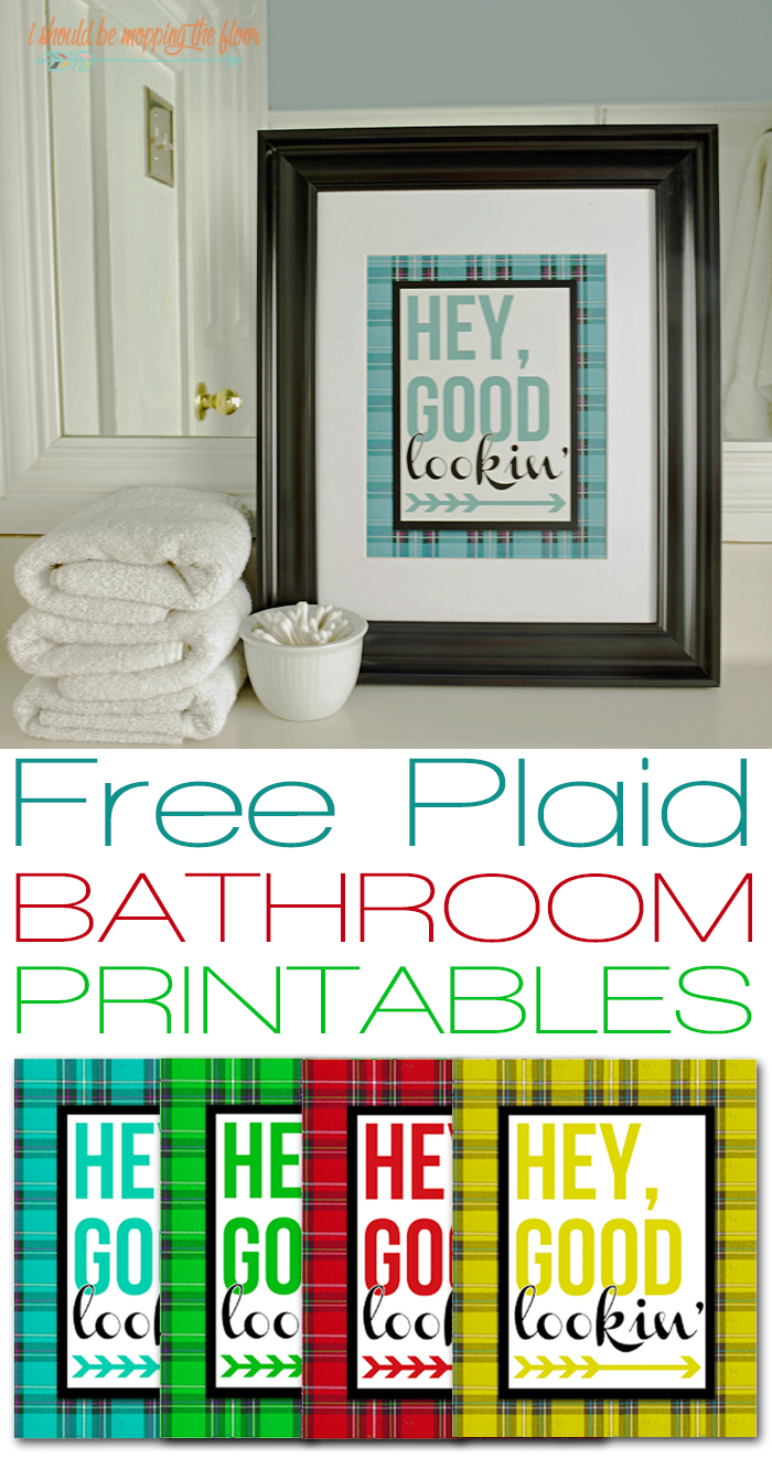 Free Plaid Bathroom Printables available in four patterns/colors. | Instant downloads.