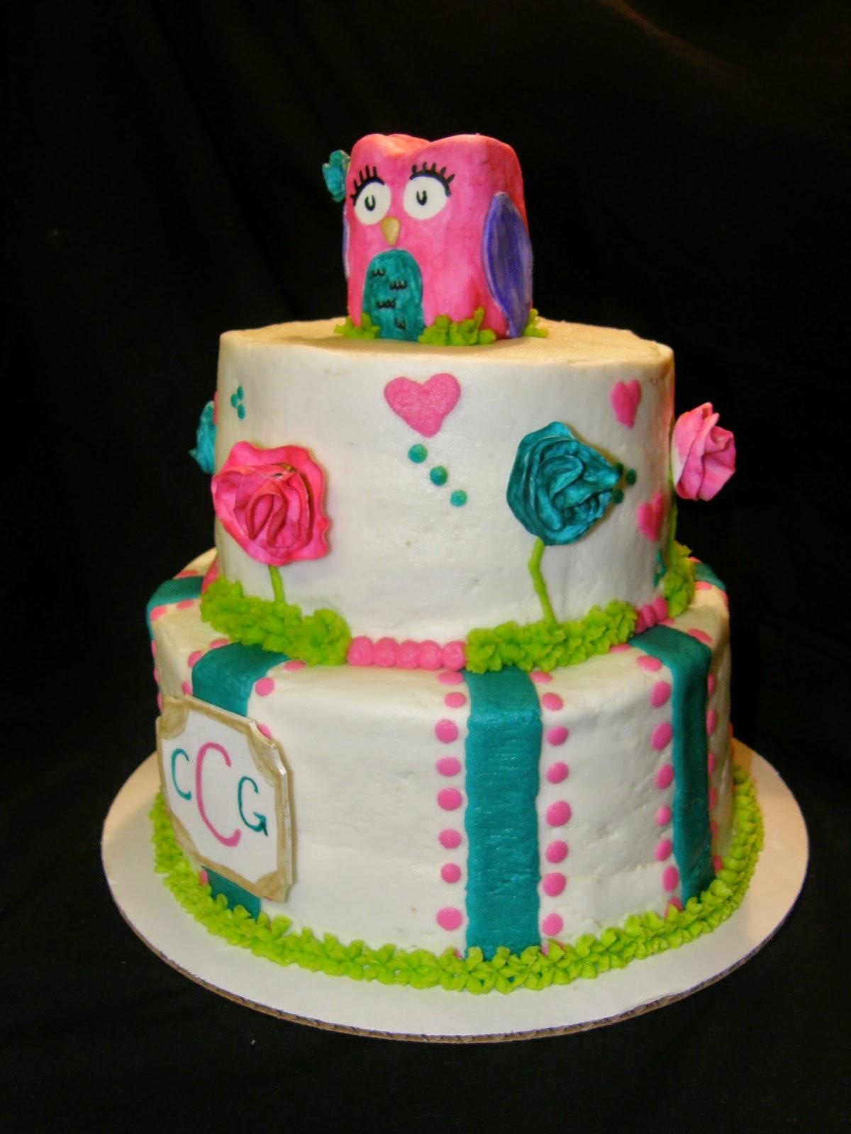 Mrs Lydias Kitchen Pink Teal Owl Cake