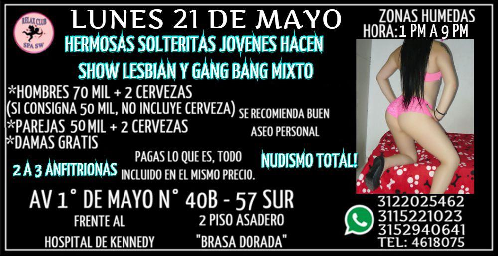 LUNES 21 DE MAYO DE 1 PM A 9 PM HERMOSAS CHICAS TE ESPERAN PARA HACER GANG BANG NUDISTA MIXTO