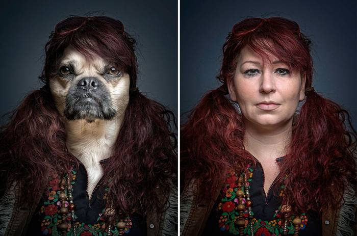 Photographer Sebastian Magnani's Dogs Dressed Like Owners Portrait