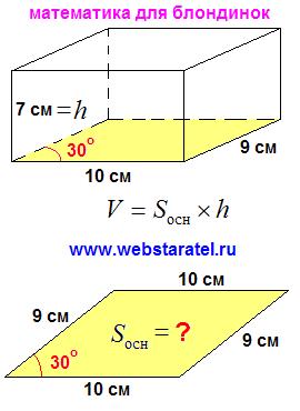 Объем прямого параллелепипеда. Основание параллелепипеда параллелограмм с углом 30 градусов. Высота прямого параллелепипеда. Формула объема. Математика для блондинок.