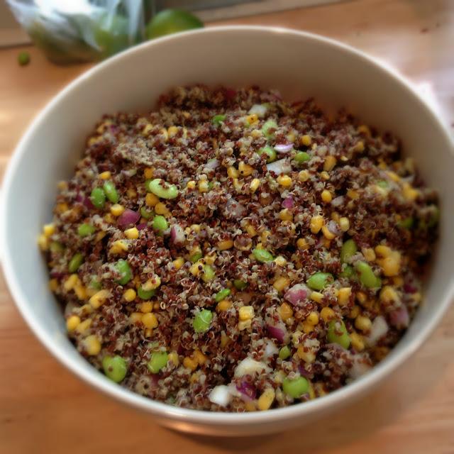 Quinoa Salad with edamame and cilantro dressing