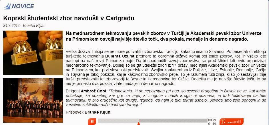 Koprski študentski zbor navdušuil v Turčiji